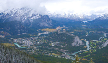 Overlook of Banff town from the top of sulfur mountain - Banff National Park, Alberta, Canada Stock Photo