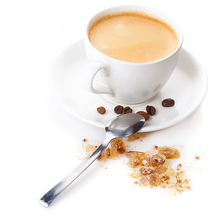 cup of cappuccno  with sugar and spoon isolated over white photo