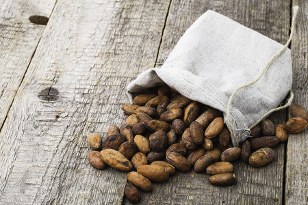 cacao beans on wooden bacground photo