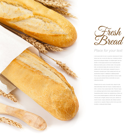 french bakery: baguettes isolated over white