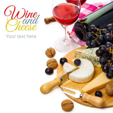 served cheese and wine isolated on white background