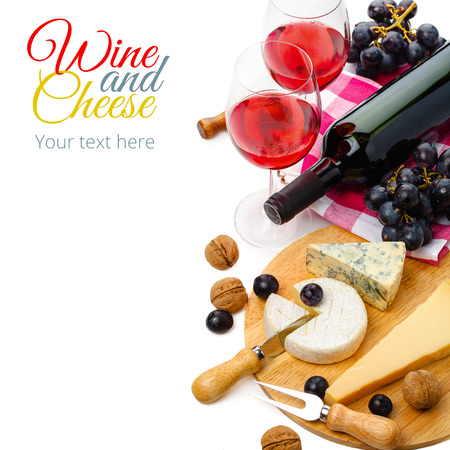 cutting boards: served cheese and wine isolated on white background