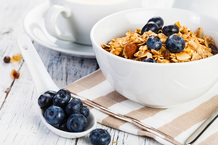 Organic Breakfast cereal with Nuts Milk and Berries Stock Photo