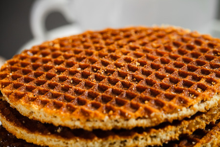 honey waffles close up