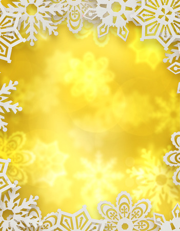 christmas background. snowflakes in front of golden blurred background