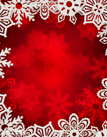 christmas background. snowflakes in front of red blurred background