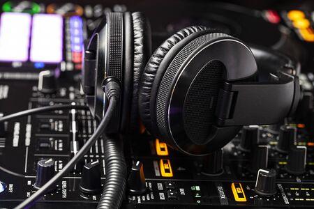 close up view on dj club equipment