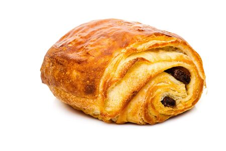 pain au chocolat with chocolate isolated on white background