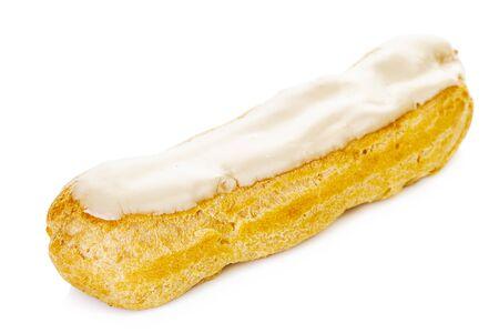 Tasty eclair with lemon cream isolated on white background Standard-Bild