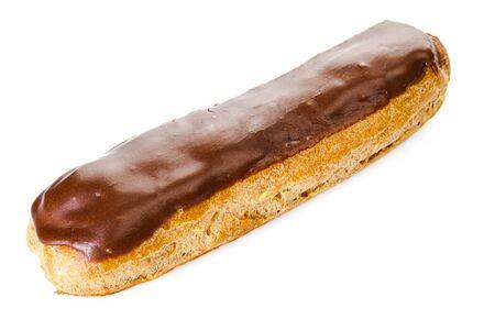 Tasty eclair with chocolate cream isolated on white background Standard-Bild