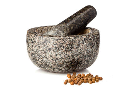 granite mortar ans spices isolated on white background Standard-Bild