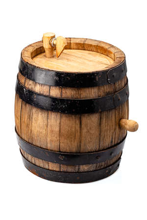 wooden barrel for alcohol drinks containing isolated on white background