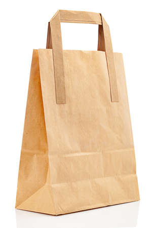 Mockup of paper bag with place for isolated on white background