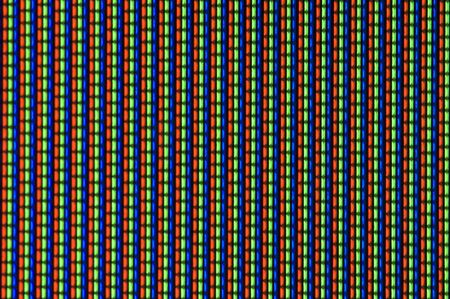 cathode ray tube: TV screen taken in macro showing the lines of red green and blue dots that make up the picture on the screen. The phosphor screen pattern