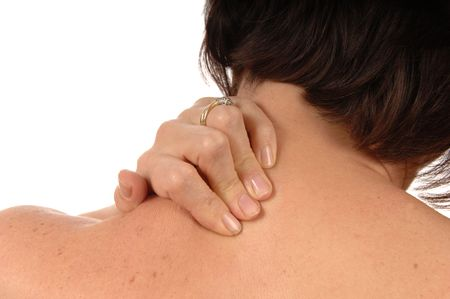 bodyscape: women with neck ache rubbing area isolated on white Stock Photo