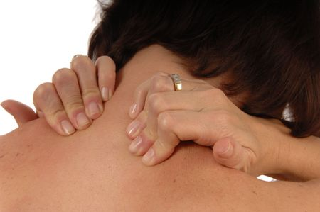 bodyscape: women with back and neck ache rubbing both shoulders isolated on white