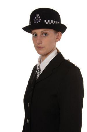 police body: Uniformed UK female police officer isolated on white