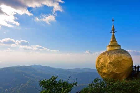 birma: Golden rock tempel in Myanmar Stockfoto