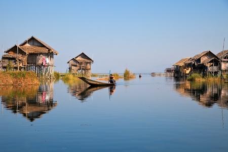 inle: Floating houses in Inle Lake Myanmar
