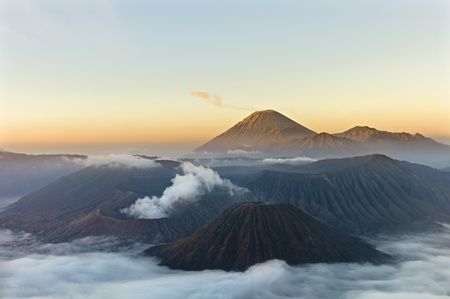 Sunrise over Gunung Bromo Volcano in Indonesia photo