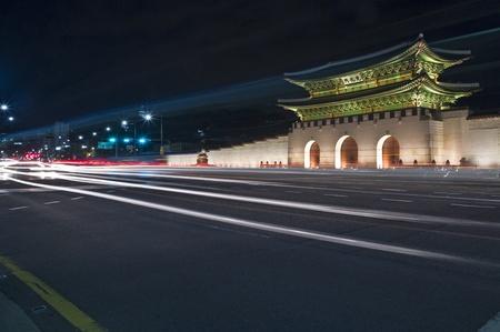 gyeongbokgung: Gyeongbokgung Gates at night. Seoul, South Korea. Stock Photo