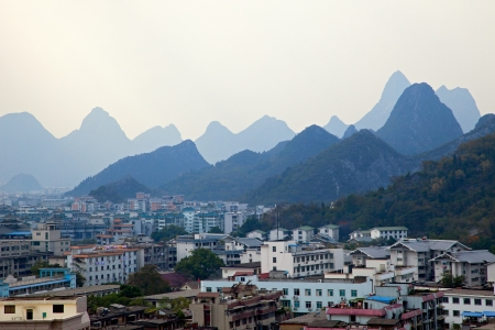 urban jungle: Panoramic view of Guilin city, China