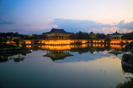 dynasty: Anapji Pond in Gyeongju, South Korea