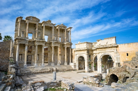augustus: Library of Celsus in Ephesus ancient city, in Selcuk, Turkey