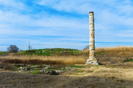 valley of the temples: Temple of Artemis ruins, one of the seven wonder of ancient world  Selcuk, Turkey