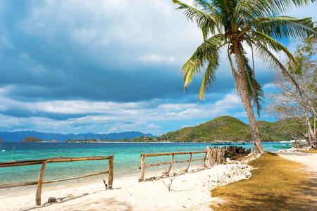 coron: Beautiful white sand beach in Banana Island, the Bacuit archipelago, Coron, Palawan,