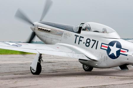 fighter plane: VASILKOV,UKRAINE -JULY 03, 2013. World War II era TF-51D fighter plane Editorial