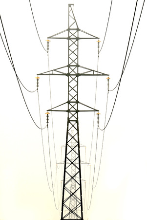 electrons: Tower high-voltage power line in the fog.