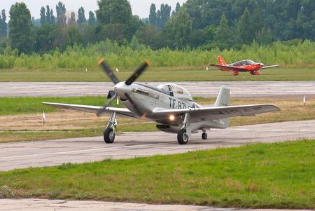 fighter plane: Vasilkov, Ukraine - July 3, 2013. World War II era TF-51D fighter plane