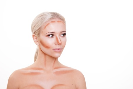 cheekbones: Make up woman face. Contour and Highlight makeup. Professional Contouring face make-up sample isolated on white