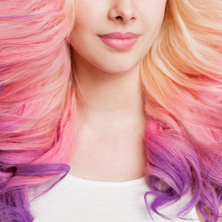 ombre: Youth women with curly colored hair. white background. Detail. Isolated. Stock Photo