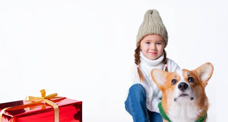 Portrait of young little girl with her pet puppy of corgi. Hugging near present. Concept christmas, new year and birthday. Isolated on white Foto de archivo - 130774519