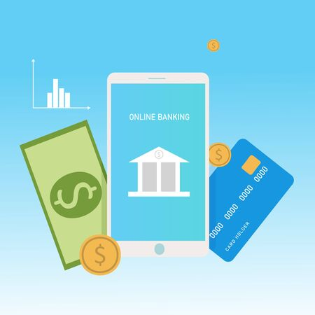 Concept online banking, online pay. Smartphone, credit card and money.