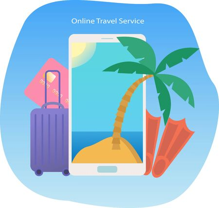 Vector illustration with smartphone, palm tree, island in the sea,credit card, luggage and flippers. Concept online travel service