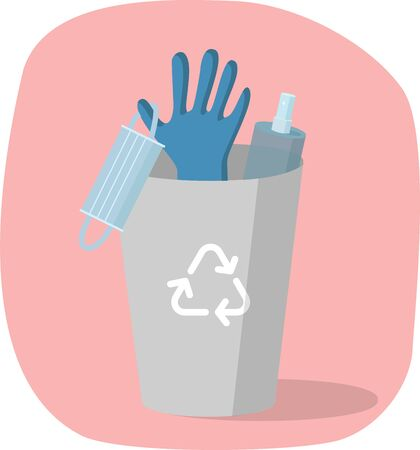 Vector illustration with trash , medical mask, gloves and disinfecting spray. Concept end of the quarantine, life after coronavirus, covid-19