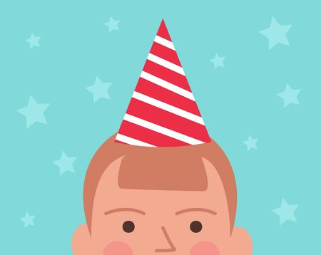 Vector illustration of half head of boy in birthday cap, stars on the background. Holiday