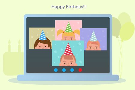 Online kids birthday party in funny festive hats. Balloons and cake with candles on the yellow background