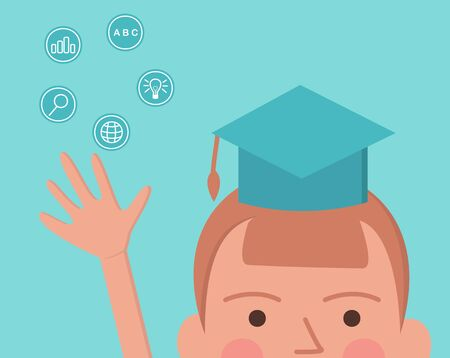 Concept online education. Vector illustration of little boy in education hat, near education icons