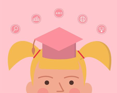 Concept online education. Vector illustration of little girl in education hat, near education icons Иллюстрация