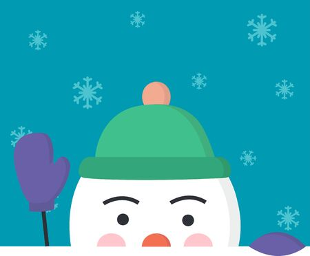 Concept christmas and winter. Half head of snowman welcomes with a hand in a mitten. Snowflakes fly on the blue background. Vector illustration