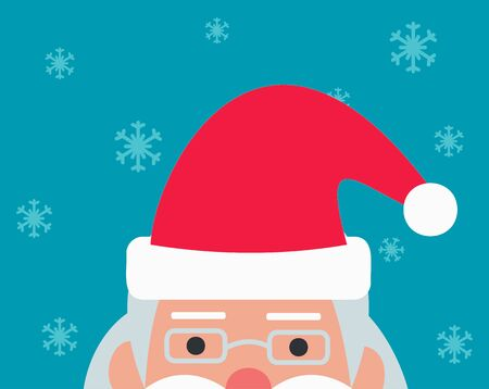 Concept Christmas. Half head of Santa Claus on the blue background, snowflakes fly around