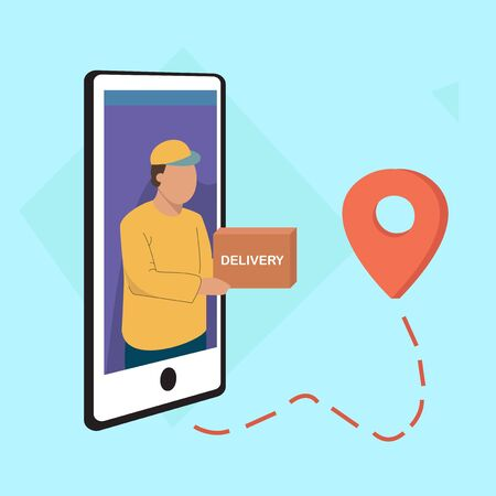 Online Delivery Concept. Courier from the telephone delivers the package to the address, geolocation icon 일러스트