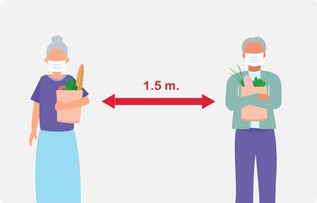 Vector illustration of two senior people in supermarket, buying food and keeping distance 1.5 m