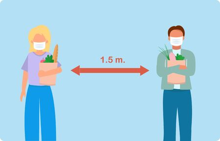 Vector illustration of two people in supermarket, buying food and keeping distance 1.5 m