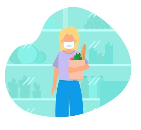 Illustration with woman in mask shopping, buying food. 일러스트