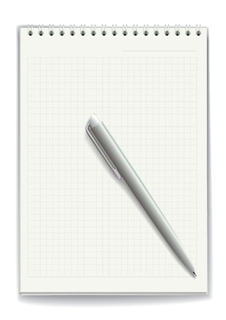 tabbed folder: Notepad with spiral binding of pages
